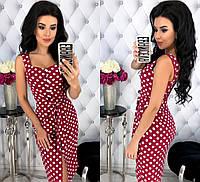 Женское летнее платье в горох на пуговичках 42 - 48 рр