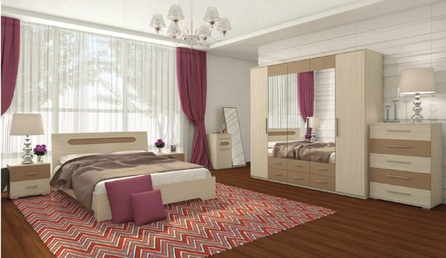 Модульная спальня Сандра ясень шимо в интерьере