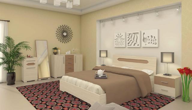 Модульная спальня Сандра ясень шимо (Интерьер)