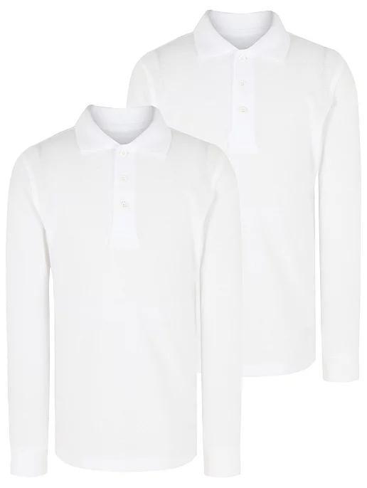 Белое поло с длинным рукавом для мальчика George Англия Размер 128-134, 134-140, 140-146, 146-152