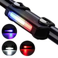 Велосипедный аккумуляторный фонарь с кабелем usb FY-306-3 COB (синий + белый + красный), фонарь на велосипед
