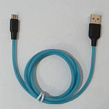 Светящиеся USB кабель Hoco Х21 Plus micro usb 1 метр Синий, фото 2