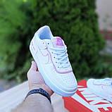 🔥 Кросівки жіночі повсякденні Nike Air Force 1 Shadow білі з сірими з пудрою (найк аір форс 1), фото 6