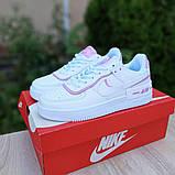 🔥 Кросівки жіночі повсякденні Nike Air Force 1 Shadow білі з сірими з пудрою (найк аір форс 1), фото 2