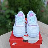 🔥 Кросівки жіночі повсякденні Nike Air Force 1 Shadow білі з сірими з пудрою (найк аір форс 1), фото 7