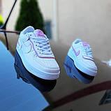 🔥 Кросівки жіночі повсякденні Nike Air Force 1 Shadow білі з сірими з пудрою (найк аір форс 1), фото 8