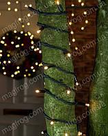 Гирлянда уличная нить с МЕРЦАНИЕМ теплый белый на черном проводе 10м на дерево., фото 1
