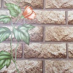 Обои для стен шпалери под кирпич коричневые цветы 0,53х10м