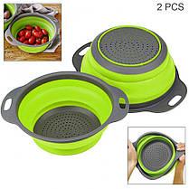 Складные силиконовые корзины 2 шт для овощей и фруктов | Складной дуршлаг, фото 2
