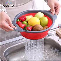 Складные силиконовые корзины 2 шт для овощей и фруктов | Складной дуршлаг, фото 3