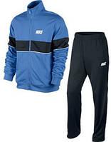 Спортивный костюм Найк, мужской костюм Nike, синяя кофта, черные штаны, трикотажный