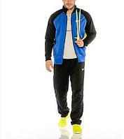 Спортивный костюм Найк, мужской костюм Nike, черные штаны и рукава, синие туловище, трикотажный