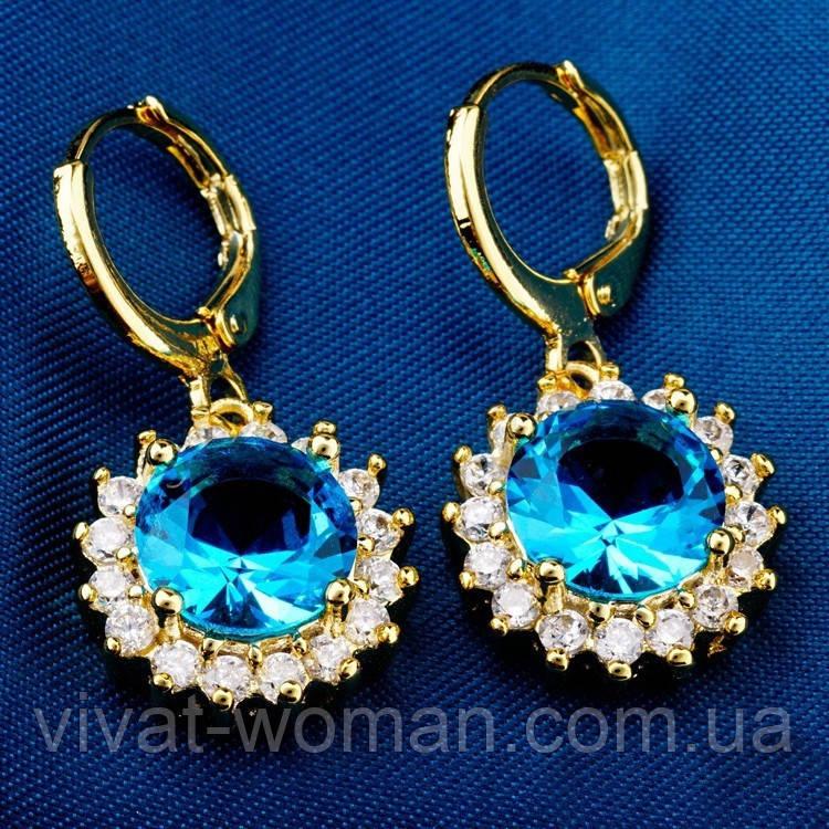 Сережки, покриття золотом 18К, Gold Filled, блакитний куб. цирконій