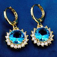 Сережки, покриття золотом 18К, Gold Filled, блакитний куб. цирконій, фото 1