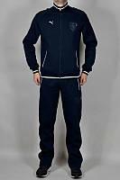 Спортивный костюм Пума, мужской костюм Puma, темно-синий, трикотажный