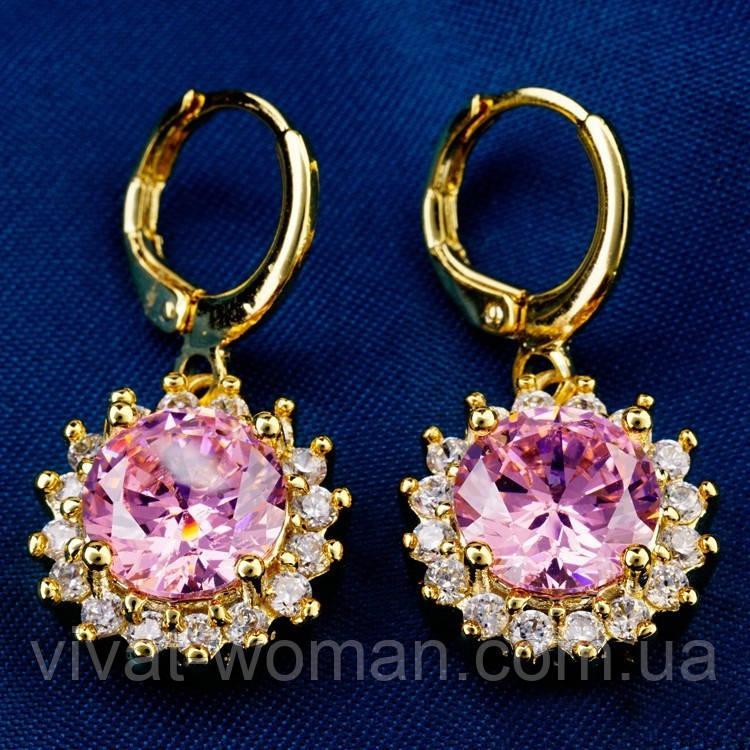 Серьги, покрытие золотом 18К, Gold Filled, розовый куб.цирконий