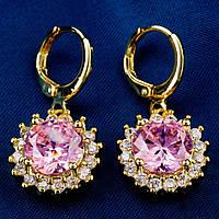 Серьги, покрытие золотом 18К, Gold Filled, розовый куб.цирконий, фото 1