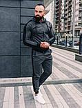 Мужской спортивный костюм весна-осень с капюшоном,цвет серый с черным лампасом, фото 4
