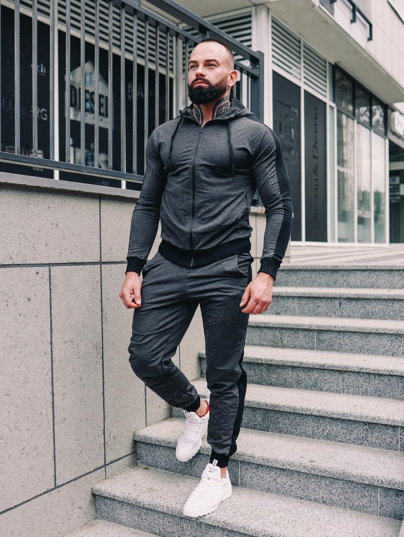 Мужской спортивный костюм весна-осень с капюшоном,цвет серый с черным лампасом