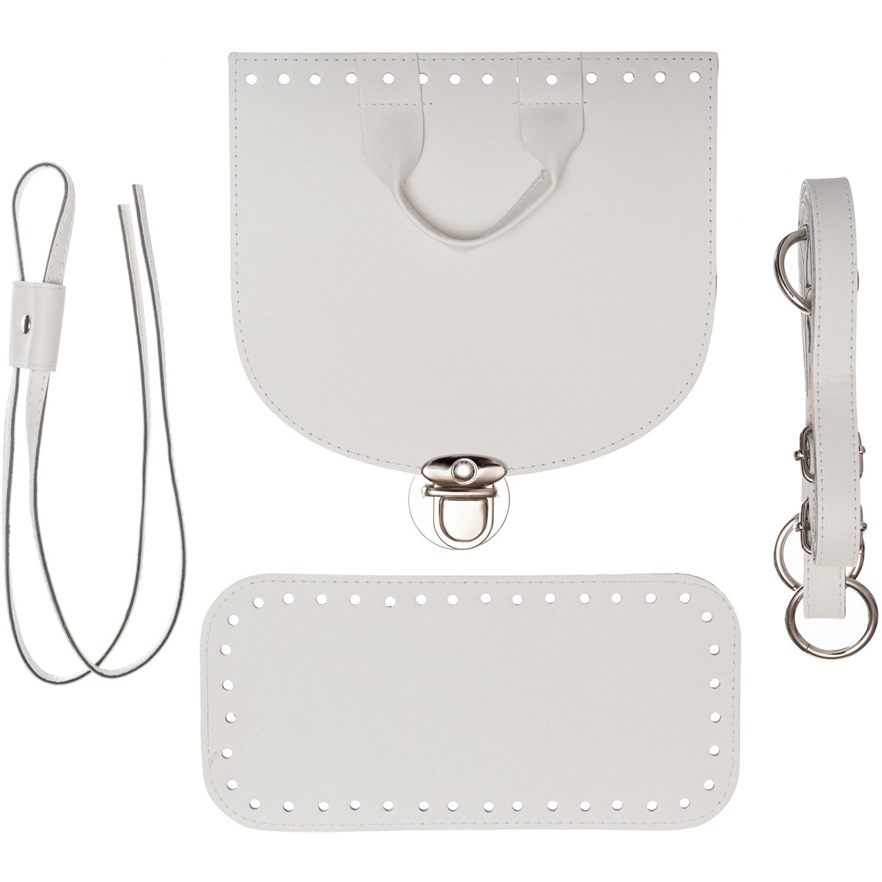 Набор для рюкзака экокожа Белый (5 позиций) фурнитура серебро