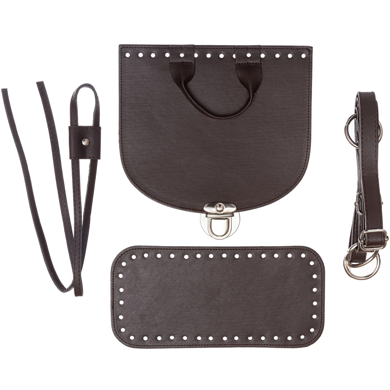 Набор для рюкзака экокожа Шоколад (5 позиций) фурнитура серебро