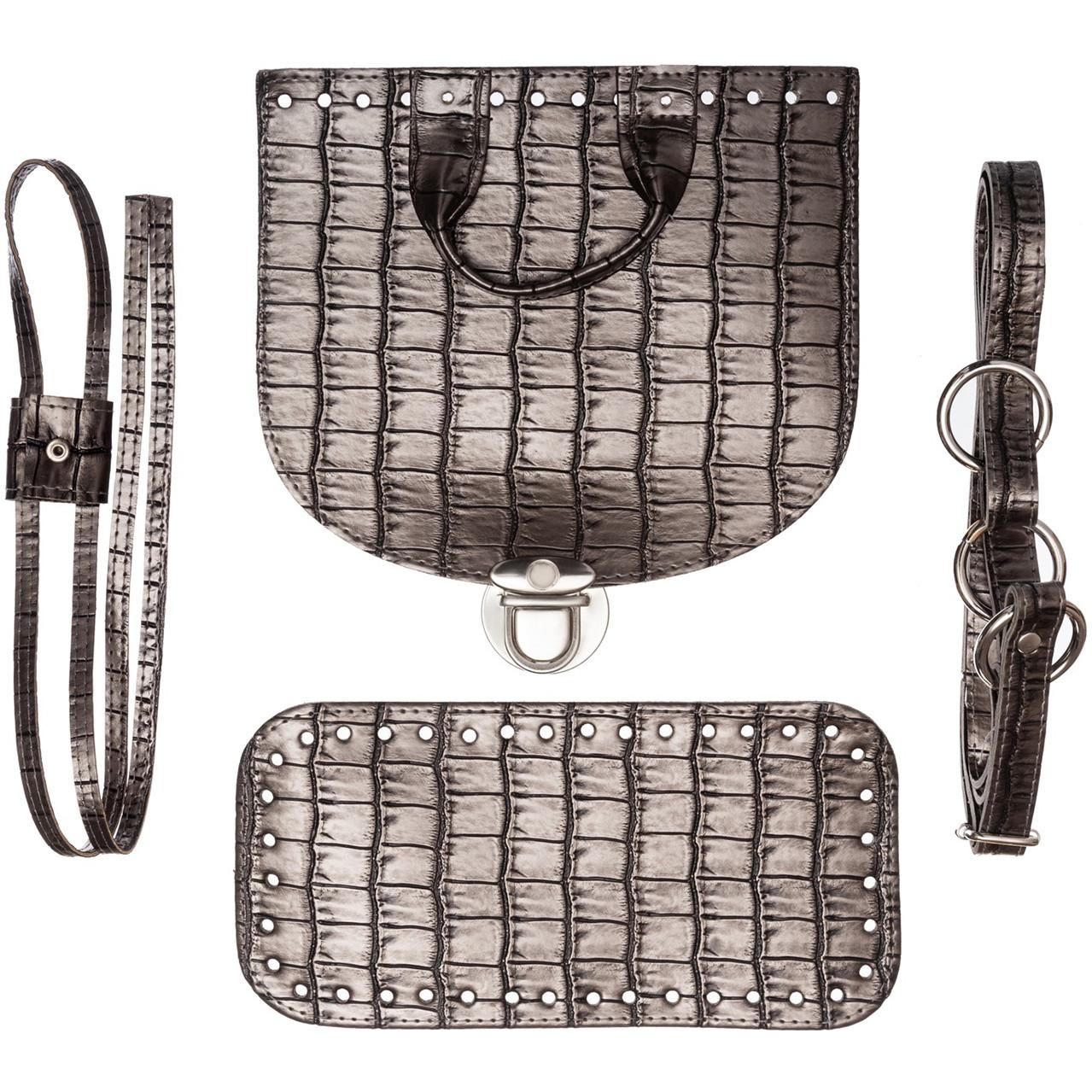 Набор для рюкзака экокожа крокодил Металлик (5 позиций) фурнитура золото
