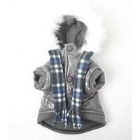 MonkeyDaze (Манки Дэйзи) Grey Parka Парка серая с шарфом одежда для собак