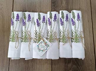Набор вышитых льняных салфеток Лаванда 42*42 см белые