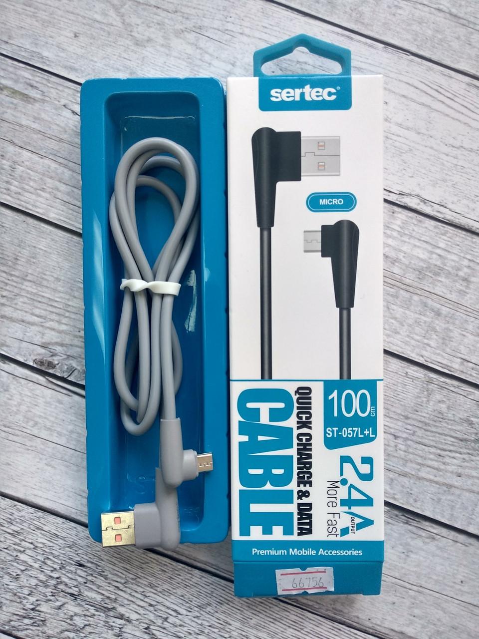 Кабель Usb-cable Micro USB Sertec ST-057L+L 2.4A 1m (Г-образный коннектор, круглый) Grey