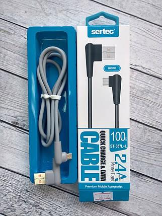 Кабель Usb-cable Micro USB Sertec ST-057L+L 2.4A 1m (Г-образный коннектор, круглый) Grey, фото 2