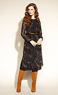 Zaps осінь-зима 2021. Плаття Joella 004 чорний, багатошарове жіноче плаття міді з поясом та прозорими рукавами
