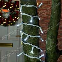 Уличная гирлянда нить холодный белый на белом проводе 10м наружная для деревьев. , фото 1