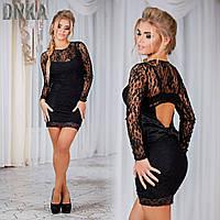 Платье вечернее короткое, ткань гипюр,сзади бант атласный, цвет черный , белый ДГ № 81-93