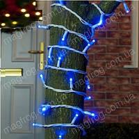 Уличная гирлянда нить синий на белом проводе 10м внешняя для деревьев., фото 1