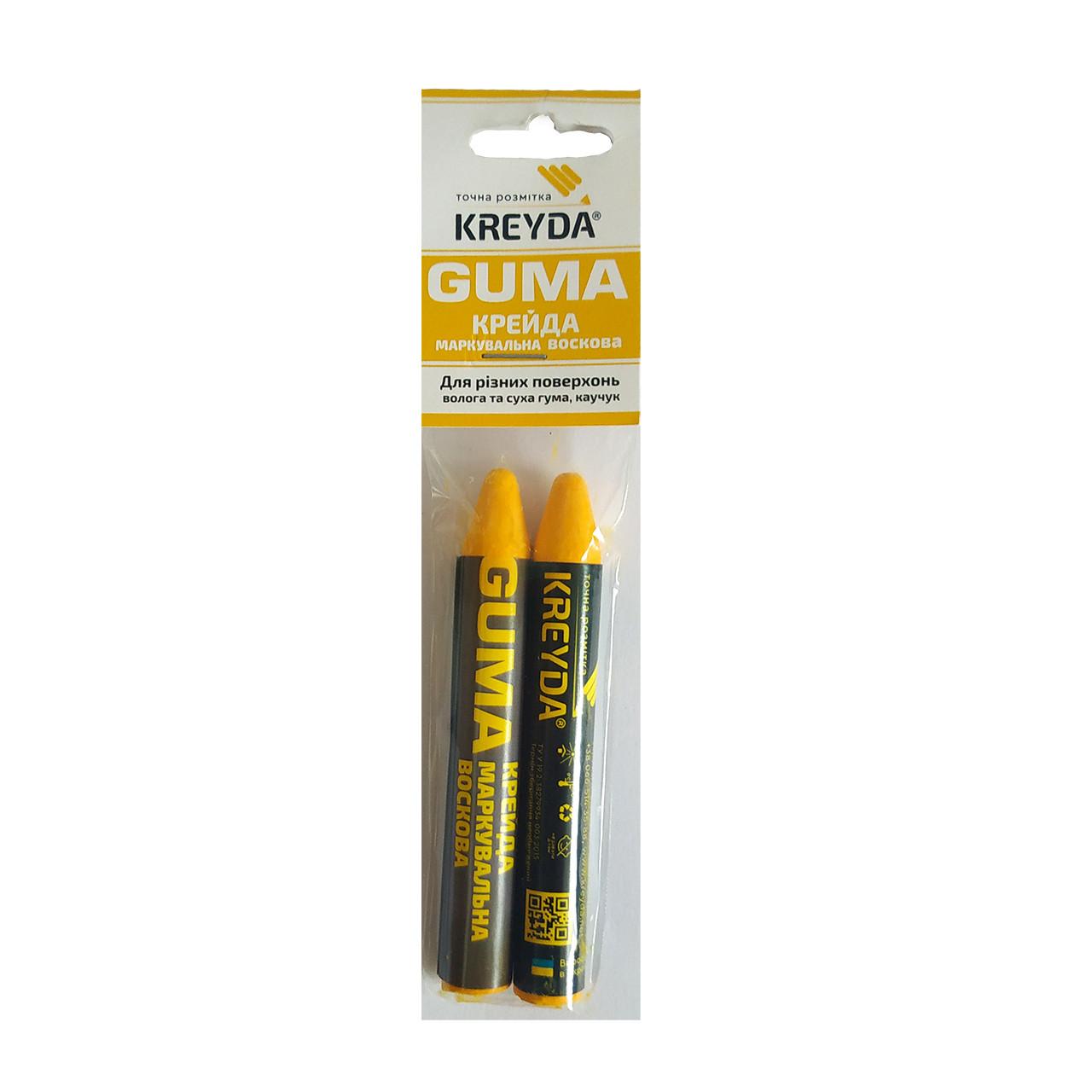 Для Резины, мел восковой разметочный (желтые) GUMA - 2шт