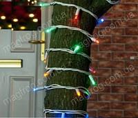Уличная гирлянда нить разноцветный на белом проводе 10м внешняя на дерево., фото 1