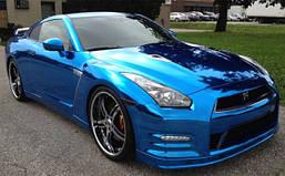 Пленка Хромовая Зеркальная Глянцевая Отражающая Синяя для авто 152х30 см