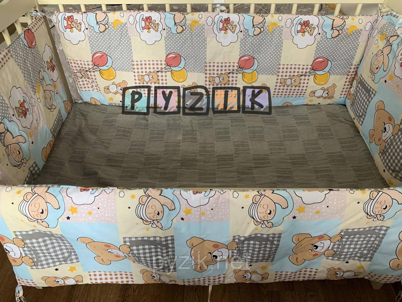 """Захист для дитячого ліжечка 120х60 см, """"Ведмедики з повітряними кульками"""" жовтий"""