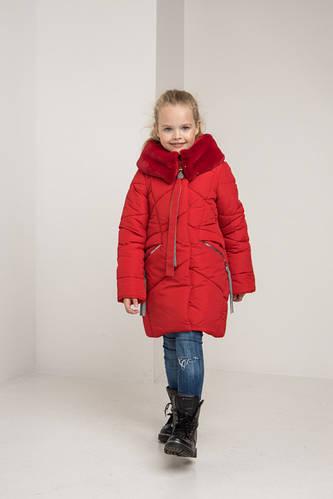 Детское зимнее пальто на девочку Арина, мех кролик иск.