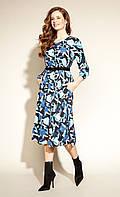 Zaps осінь-зима 2021. Плаття Laboni 028 гранат, синє жіноче плаття міді з кишенями і поясом