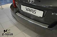 Накладка на Задний Бампер с ЗАГИБОМ — Накладка на Бампер TOYOTA YARIS III 5D 2011-2014, фото 1