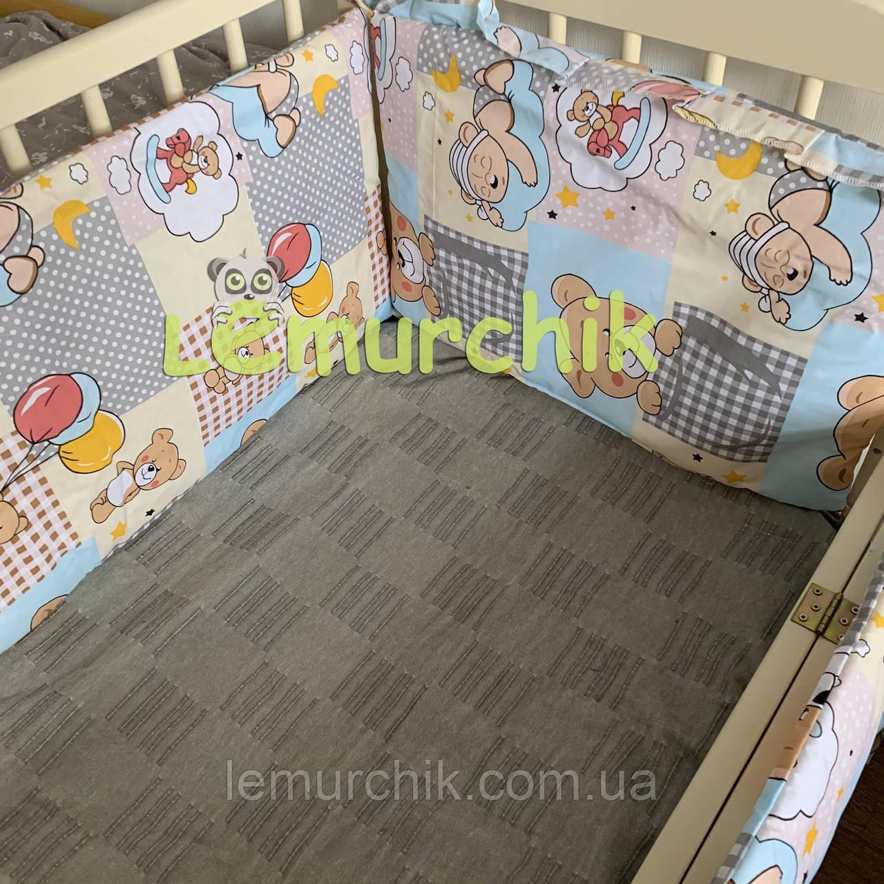 """Защита для детской кроватки 120х60 см, """"Мишки с воздушными шариками"""" желтая"""
