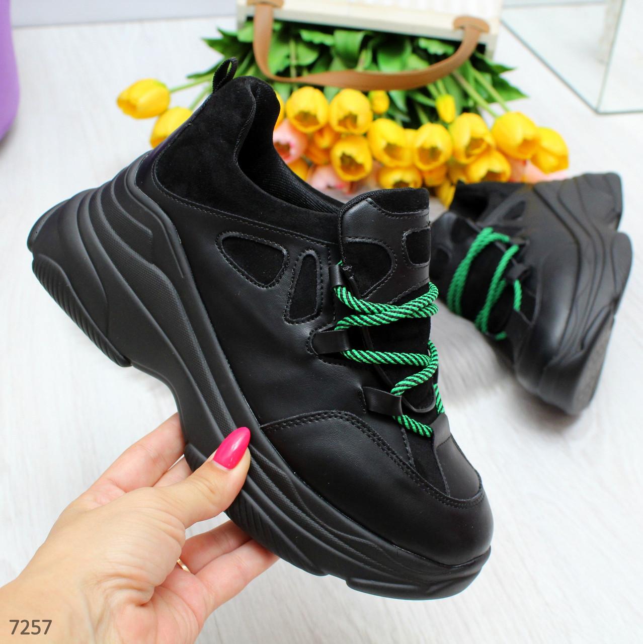 Крутые черные дизайнерские женские кроссовки сникерсы на зеленой шнуровке