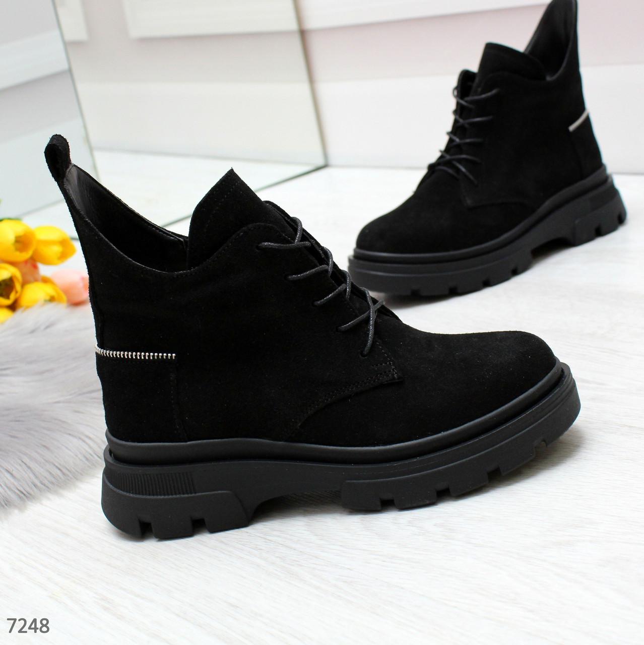 Ультра модные черные зимние женские ботинки из натуральной замши зима 2020-2021