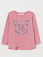 """Лонгслив кофта для дівчаток """"Метелик"""" H&M розмір 4-6 років"""