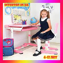 Детская железная парта со стульчиком Растишка с регулировкой высоты и наклона Bambi M 3230 розовый