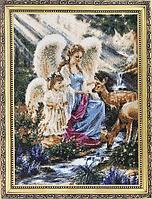 Алмазная мозаика стразами на подрамнике с принтованой рамкой Ангелы 40*50 см.