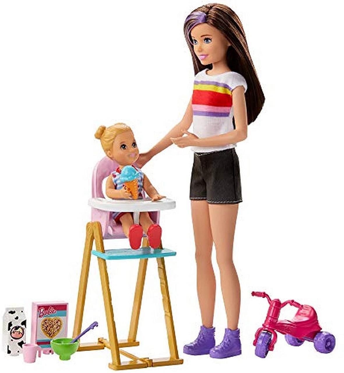 Игровой набор для кормления Барби Скиппер няня и малышка Barbie (GHV87) (887961803570)