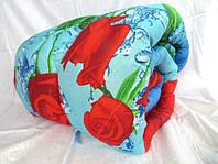 Одеяло двуспальное Лери Макс наполнитель силикон красные цветы