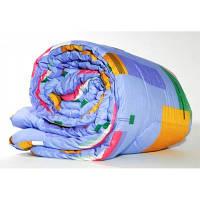 Одеяло с овечьей шерсти полуторное Лери Макс - синяя абстракция